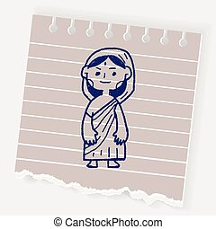 griffonnage, femme, indien