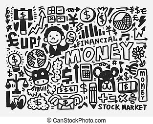 griffonnage, finance, modèle