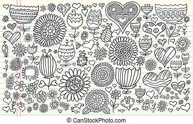 griffonnage, fleurs, vecteur, ensemble, printemps