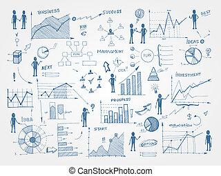 griffonnage, gestion, elements affaires, infographics