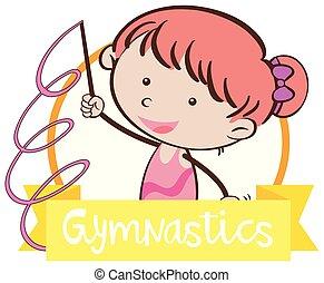 griffonnage, girl, gymnastique, signe