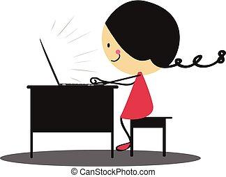 griffonnage, girl, ordinateur portable, fonctionnement