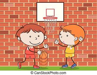 griffonnage, gosses école, basketball jouant