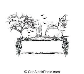 griffonnage, halloween, -, potion, préparer, sorcière