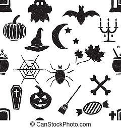 griffonnage, halloween, seamless, modèle