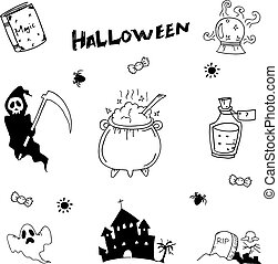 griffonnage, halloween, vecteur, ensemble, illustration