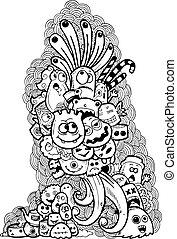 griffonnage, hand-drawn, dessin animé