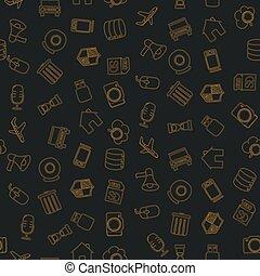 griffonnage, icônes, équipement, articles, ensemble, divers, technologique
