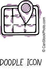 griffonnage, icon., emplacement, pictogram., carte