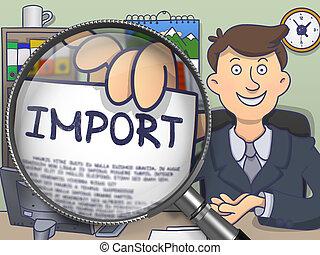 griffonnage, importation, par, magnifier., design.