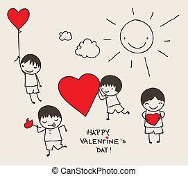 griffonnage, jour, valentine
