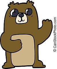 griffonnage, large, dessin animé, ours, observé
