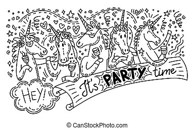 griffonnage, licorne, fête