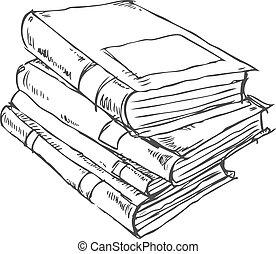 griffonnage, livres, pile