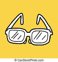 griffonnage, lunettes