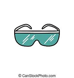 griffonnage, lunettes, icône, illustration, couleur, protecteur, vecteur
