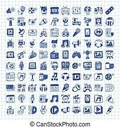 griffonnage, média, icônes