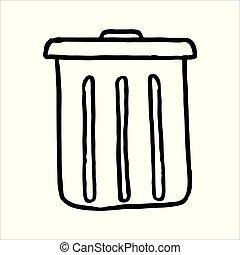 griffonnage, main, boîte, dessiné, déchets ménagers, icône