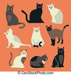 griffonnage, main, chat, illustration., vecteur, dessiné, chaton, isolé, rigolote, arrière-plan., orange, mignon