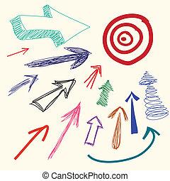 griffonnage, main, dessin animé, flèche, dessin
