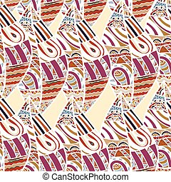 griffonnage, malade, africaine, pattern., seamless, clair, vecteur, ethnique, floral