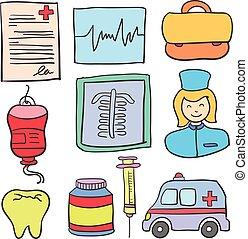 griffonnage, monde médical, objet, collection