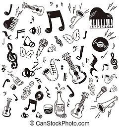 griffonnage, musique, icône, ensemble, dessiné, main