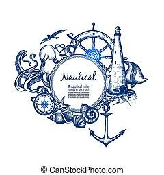 griffonnage, nautique, marin, composition, icône