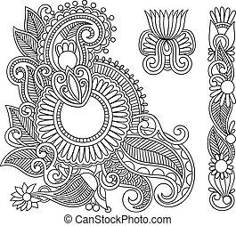 griffonnage, noir, illustration, conception, mehndi, fleur, ...