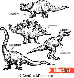 griffonnage, noir, main, dessiné, ensemble, dinosaures