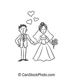 griffonnage, nouveaux mariés