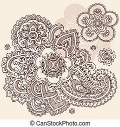 griffonnage, paisley, vecteur, henné, fleur