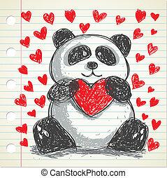 griffonnage, panda, coeur