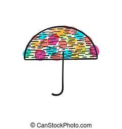 griffonnage, parapluie, coloré, illustration, icône