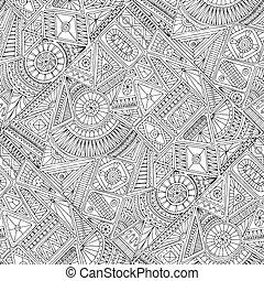 griffonnage, pattern., seamless, asiatique, ethnique, floral
