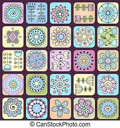 griffonnage, pattern., seamless, feuilles, fleurs, cœurs