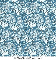 griffonnage, pattern., seamless, floral, clair, vecteur, africaine, illustrati
