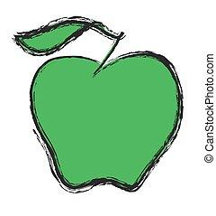 griffonnage, pomme, vecteur, vert