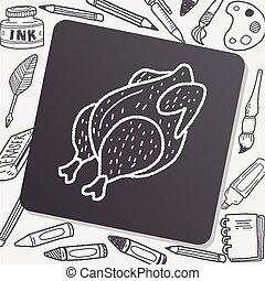 griffonnage, poulet, dessin, rôti
