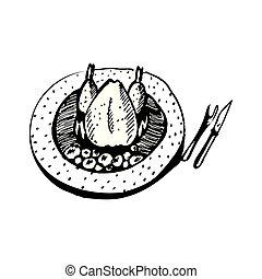 griffonnage, poulet, rôti