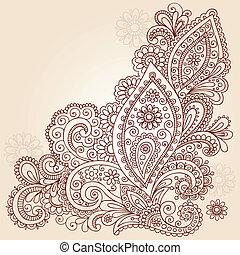 griffonnage, résumé, vecteur, conception, henné