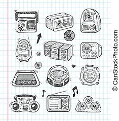 griffonnage, radio, icônes