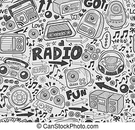 griffonnage, radio, seamless, modèle