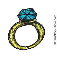 griffonnage, retro, diamant, alliance