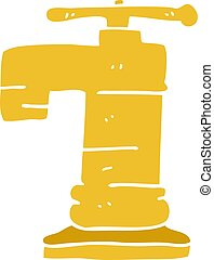 griffonnage, robinet, dessin animé, or, plaqué