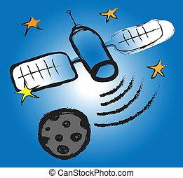 griffonnage, satellite, télécommunications