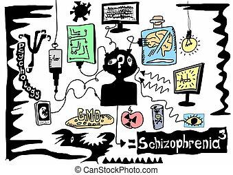 griffonnage, schizophrénie, concept