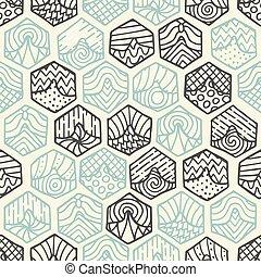 griffonnage, seamless, hexagones, modèle, dessiné, main, rempli