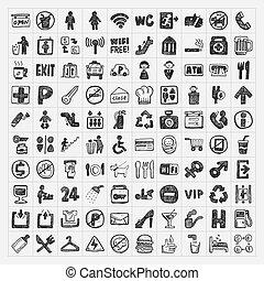 griffonnage, signe, public, icône