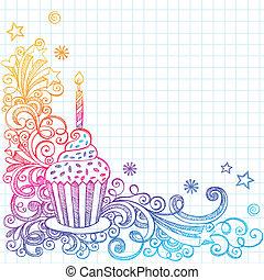 griffonnage, sketchy, anniversaire, petit gâteau